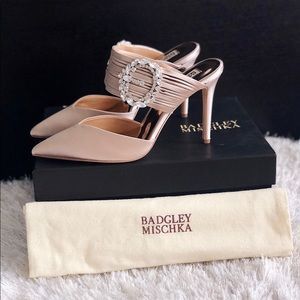 ✨ BADGLEY MISCHKA Fancy Crystal Satin Heel Mules